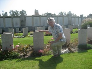 Leslie Lyons at the grave of his uncle, Albert, St. Sever Cemetery, Rouen, France | Leslie Lyons