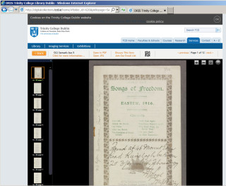 DRIS Trinity College, song book image | Digitalcollectionstcd.ie