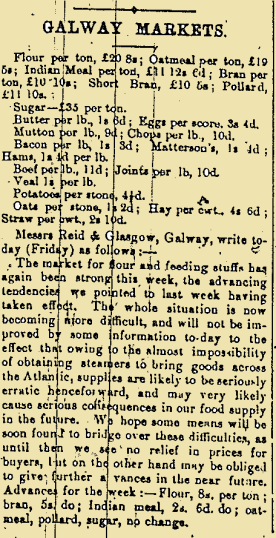 Galway Markets Update from the Galway Express on New Year's Day 1916