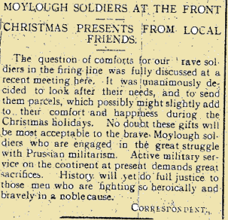 Moylough Soldiers at the Front from the Tuam Herald on New Year's Day 1916