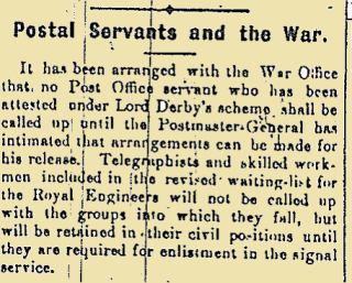 Postal Servants and the War from the Galway Express on New Year's Day 1916