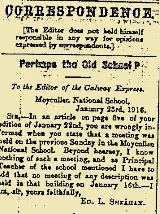 Snippet From the Connaught Tribune Published on 22 January 1916