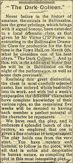 Snippet from the East Galway Democrat 29 January 1916- 'The Dark Colleen' play