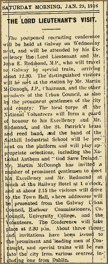 From the Papers 29 January 1916: Lord Lieutenant Opens Recruiting Conference