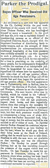 Snippet taken from the Galway Express on 17 January 1916