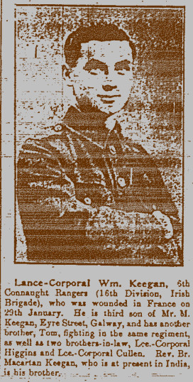 Image of Lance-Corporal William Keegan taken from the Galway Express, 12 January 1916