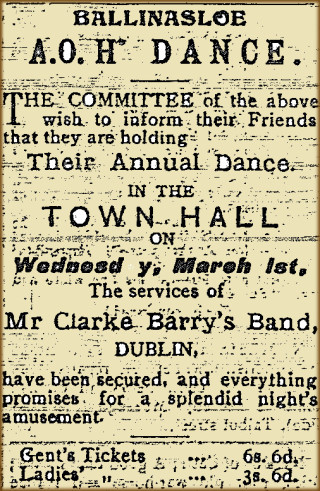 Snippet taken from the East Galway Democrat 12 February 1916