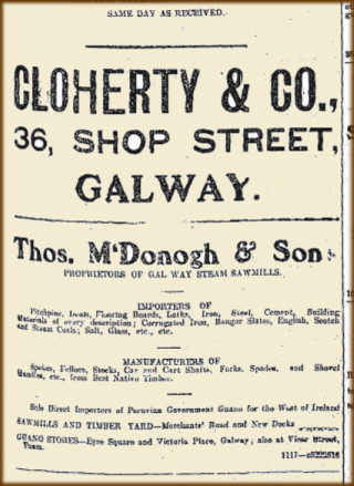Some advertisements taken from the Connacht Tribune 26 Febrary 1916