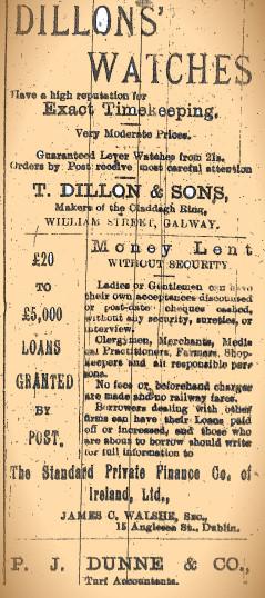 Advertisement taken from the Tuam Herald 26 February 1916