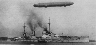 A Zeppelin flying over SMS Sedlitz