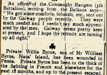From the Papers 04 March 1916: News from the Connaught Rangers 5th Battalion