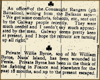 Snippet from the Tuam Herald 04 March & 25 March 1916