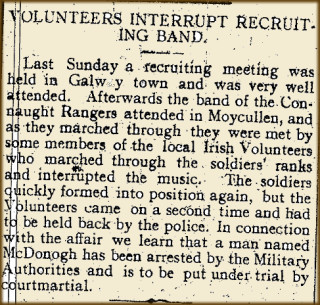 Snippet from the Tuam Herald 04 March 1916