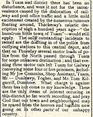Snippet from the Tuam Herald 29 April 1916