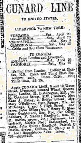 Snippet taken from the Connacht Tribune 22 April 1916