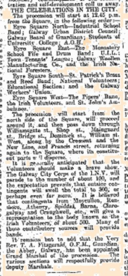 Snippet from the Connacht Tribune 18 March 1916