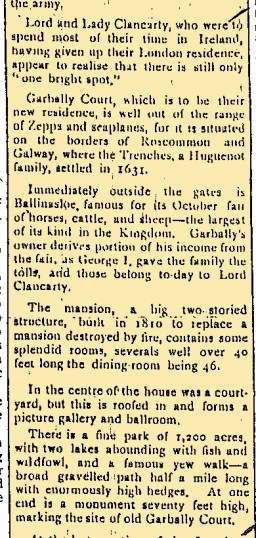 Snippet taken from the East Galway Democrat 1 April 1916