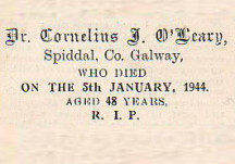 Dr. Cornelius J. O'Leary, Galway, 1916 and Frongoch