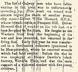 Snippet taken from the Galway Experess 22 April 1916