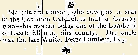 Extract from the Tuam Herald 05 June 1915