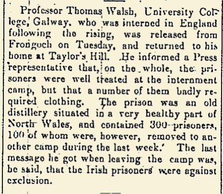 Snippet from the Galway Express 01 July 1916