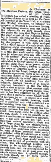 Snippet from the Connacht Tribune 08 April 1916