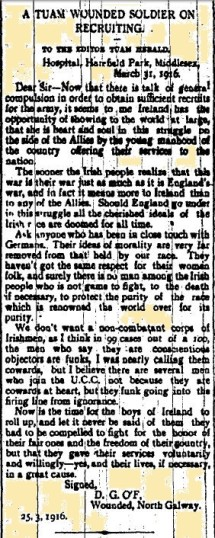 Snippet taken from the Tuam Herald 08 April 1916