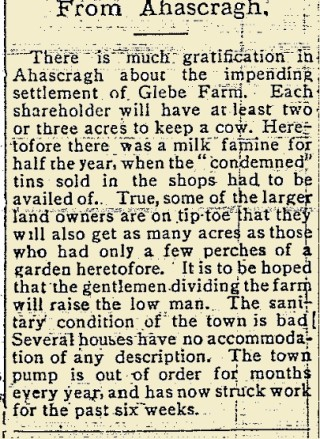 Snippet from the East Galway Democrat 22 July 1916