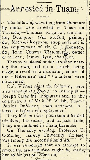 Snippet from the East Galway Democrat 06 May 1916