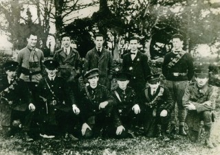 Ballygar Volunteers, circa 1918. Tom Brehon is 2nd from left (front row). Jerry Clancy is 4th from left (front row).