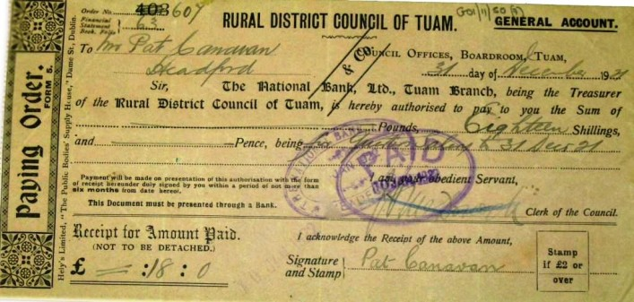 Example of Tuam Rural District Council Payorder (1921)