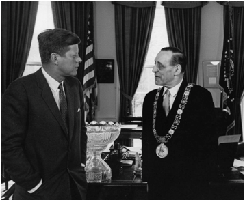 Robert Briscoe and John F. Kennedy in the White House during a diplomatic meeting in 1962. Briscoe was Lord Mayor of Dublin at this time.