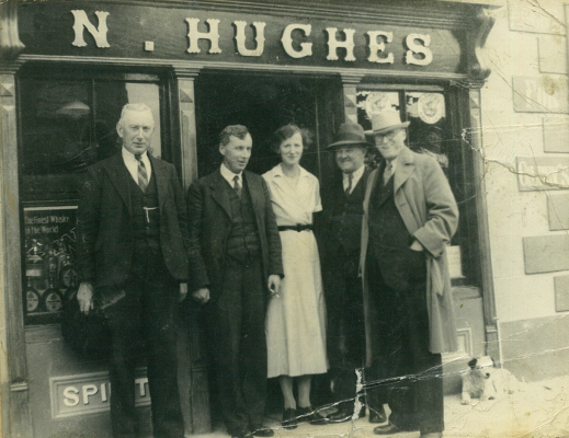 Nicholas Hughes (2nd from right) outside his pub in Ballygar. It was here that Briscoe stayed when he was sent by Collins to Ballygar in early 1920.