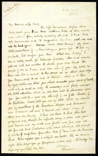 Letter from Éamonn Ceannt to hos wife Aine on the morning of his execution | National Library of Ireland