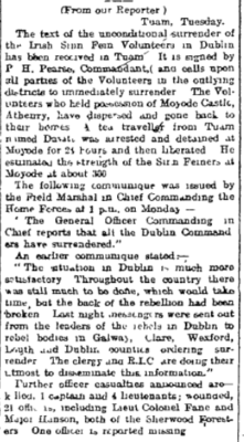 Snippet from the Saturday Edition of Western People, 6 May 1916. Pg 6. | Irish Newspaper Archives