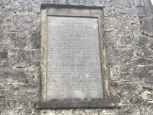 Memorial plaque at the site of the execution of six anti-treaty soldiers at the workhouse in Tuam | Dr Mark McCarthy