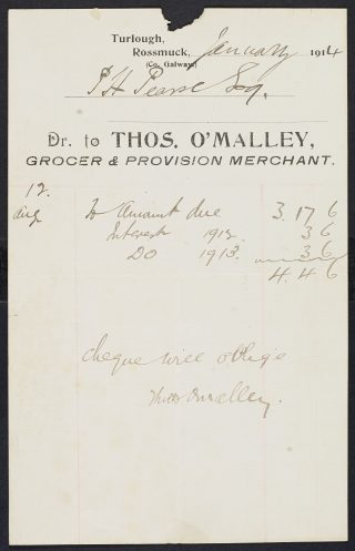 Padraig Pearse Invoice for Groceries in Ros Muc shop, 1904 | National Library, Ireland